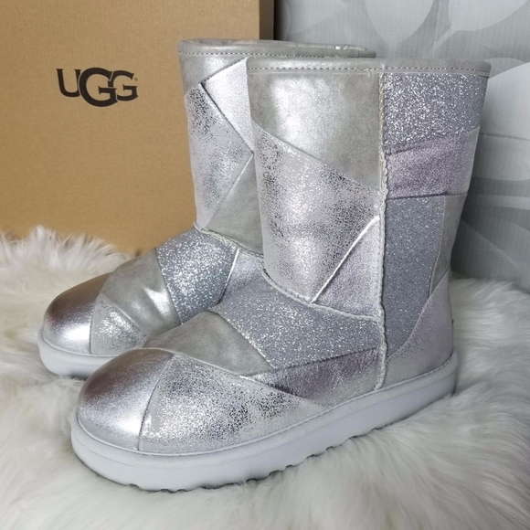 a34c4311d36 UGG Classic Glitter Patchwork Silver Boots Boutique